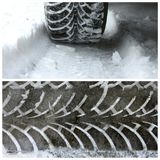 Winter Tires On Snow And A Trail Of Tread From Winter Tires Royalty Free Stock Photos