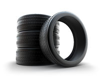 Winter tires over white Royalty Free Stock Images