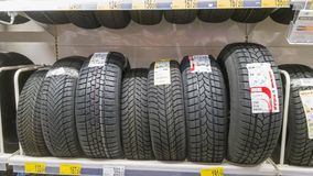 Winter tires for sale Stock Photo