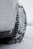 Winter Tires In The Snow Stock Photo