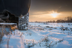 Winter tires in snow Royalty Free Stock Images