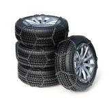 Winter tires with snow chain isolated on white background Royalty Free Stock Photography