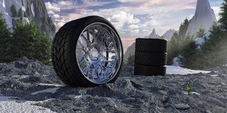 Winter tires in snowy mountains. The concept of car service and tire fitting Stock Images