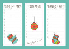 Winter to do list. Vector set of to do lists and notes templates with hand drawn winter decorations for New Year and Christmas holidays. For party organizers Stock Photos