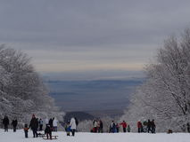 Winter on the top. View from the highest point of Hungary royalty free stock photo