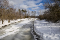 Winter in Toronto. The view of frozen river in J Ross Park, Toronto Ontario Stock Photos