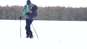 Winter tourist with snowshoes walk in snowy drift. Hiker in green sports jacket and black trekking trousers snowshoeing in snow. Winter tourist with snowshoes stock video footage