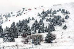 Winter touristic resort in Kopaonik - a largest mountain range in Serbia stock photos