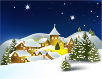 Winter town. Winter landscape with little town - vector illustration Royalty Free Stock Image