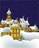Winter town. Winter landscape with little town - vector illustration Royalty Free Stock Photo