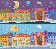 Winter town banner Stock Images