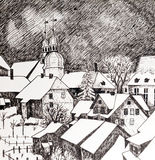 Winter town in black and white Royalty Free Stock Photography