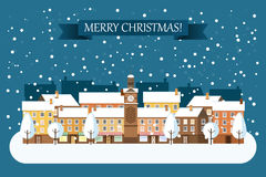 Winter Town Christmas Card. Winter town snowy street. Urban winter landscape. Christmas card Happy Holidays banner. Vector illustration flat design Stock Photo