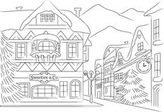 Winter town clean sketch Stock Images