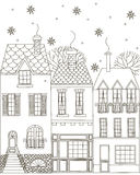 Winter town. Coloring Book. Vector illustration. Isolated outline on a white background. Drawn by hand Stock Photo