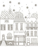 Winter town. Coloring Book. Vector illustration. Isolated outline on a white background. Drawn by hand Royalty Free Stock Photography
