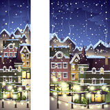 Winter town decorated with christmas light Royalty Free Stock Photos