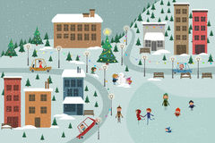 Winter town. Happy Holiday Christmas town atmosphere Royalty Free Stock Images
