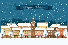 Winter Town Happy Holidays Stock Photo