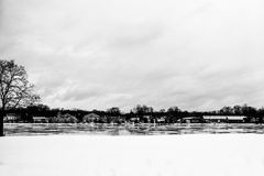 Winter town by lake Stock Photography
