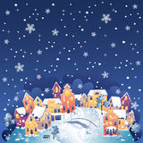 Winter town at night royalty free stock image
