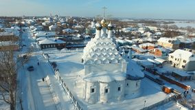 Winter town in Russia. Aerial view HD stock video footage