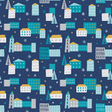 Winter town - seamless pattern. Cozy winter city illustration. Vector seamless pattern vector illustration