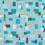 Winter town - seamless pattern. Cozy winter city illustration. Vector seamless pattern royalty free illustration
