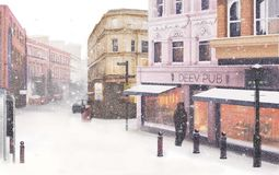 Winter town with snow and people stock illustration