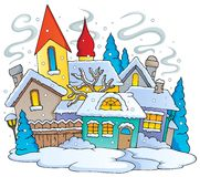 Winter town theme image 1 Stock Photography