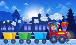 Winter town with train Royalty Free Stock Image