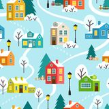 Winter town or village vector seamless pattern Stock Image