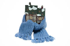 Winter toy fachwerk house with blue scarf Royalty Free Stock Images