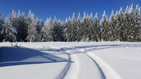 Winter track the frozen landscape - Bohemian. Forest, Sumava, winter, Czech Republic Royalty Free Stock Photos
