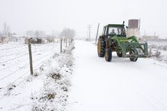 Winter tractor Stock Photos