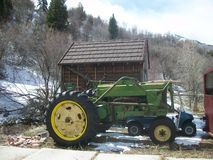 Winter tractor and shed Stock Photo