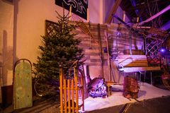 Winter and Traditional Alpine Theme Wedding Decoration stock photos