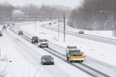 Winter Traffic on Expressway Royalty Free Stock Photo