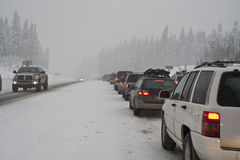 Winter traffic jam Royalty Free Stock Images