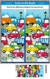 Winter traffic jam find the differences picture puzzle Royalty Free Stock Images