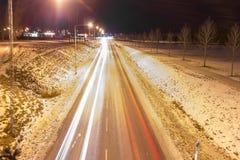 Winter traffic lights in Värnamo Stock Photo