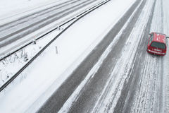 Winter traffic on the motorway Royalty Free Stock Photography