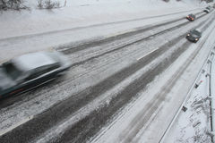 Winter traffic on the motorway Royalty Free Stock Photos