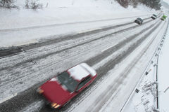 Winter traffic on the motorway Royalty Free Stock Images