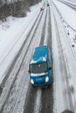 Winter traffic on the motorway Royalty Free Stock Photo