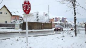 Winter Traffic Sign stock video