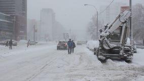Winter traffic stock footage