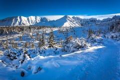 Winter trail on the mountain peak Stock Image
