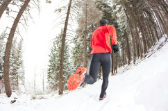 Winter trail running Royalty Free Stock Photo