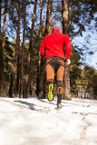 Winter trail running Royalty Free Stock Images